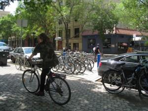 On-street bike parking on Albert St (Photo: Green Action Centre)