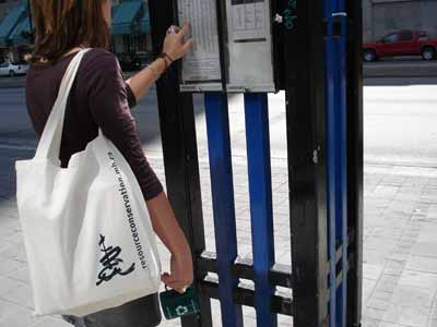 transit rider with resuable cloth bag