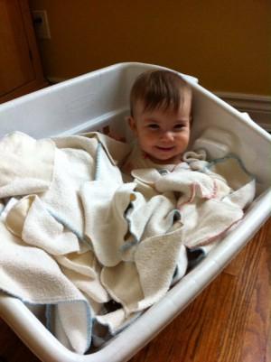 Nola in the laundry bin