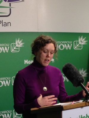 Green Action Centre Board Member Lisa Quinn speaks at the press conference.