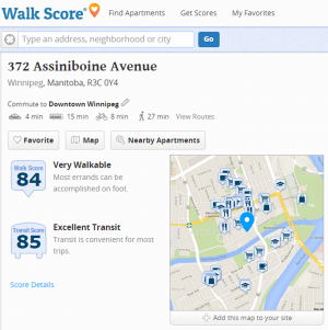 Walk Score print screen