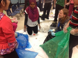 Waste Audit at Ryerson School 2015 - children sorting with Kelly Kyruk