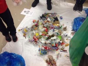 Waste Audit at Ryerson School 2015 - pile of garbage on tarp (2)