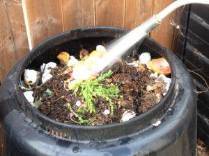 watering compost bin