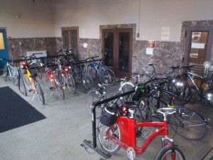 A key card is needed to access the bike parking at Environment Canada.
