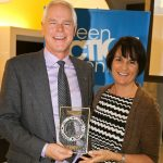 Cathy Steven (Health in Common) presents Eric Wiens (Stantec) with this year's Commuter Friendly Workplace Award